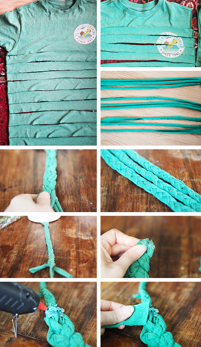 DIY | SHIRT INTO BRAIDED NECKLACE