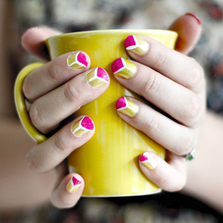 NAIL DIY | Pink & Yellow Neon Triangles