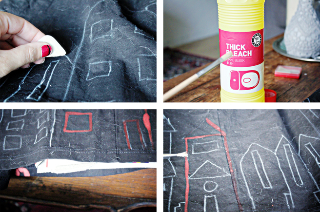 Diy bleach drawing on fabric for Space pizza fabric