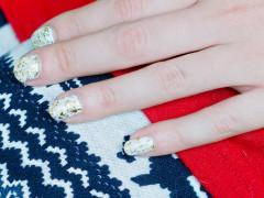 Nail DIY | White & Gold Glitter
