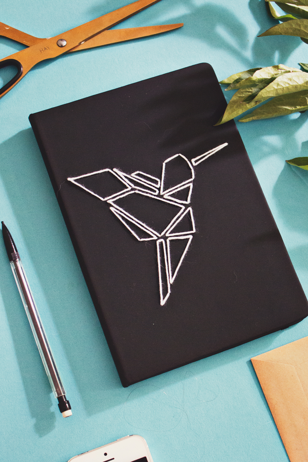 Diy White Book Cover : Diy origami embroidered book cover