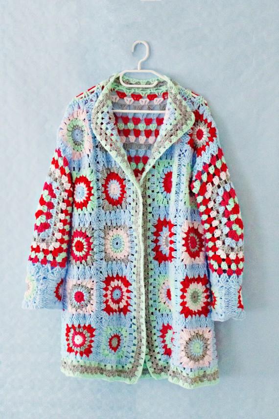 Crochet Granny Square Sweater Pattern : SEWING & STYLE - L A N A R E D S T U D I O