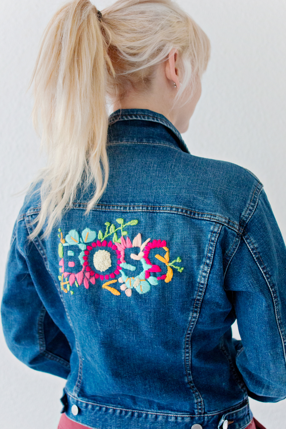 Feature embroidered denim jacket diy