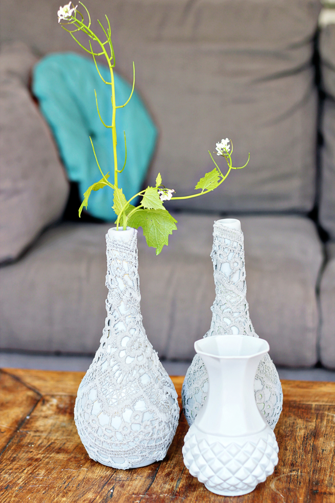 Diy Upcycling Lace Vases
