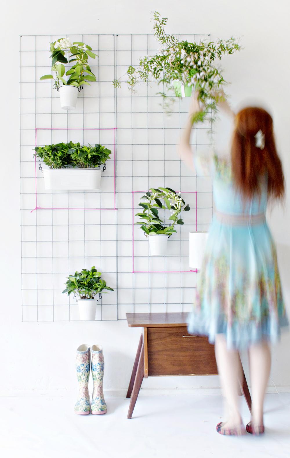 Green diy wall planter for Piante decorative