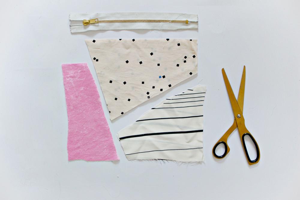 SEWING DIY | Geometric Fabric Scrap Zipper Clutch