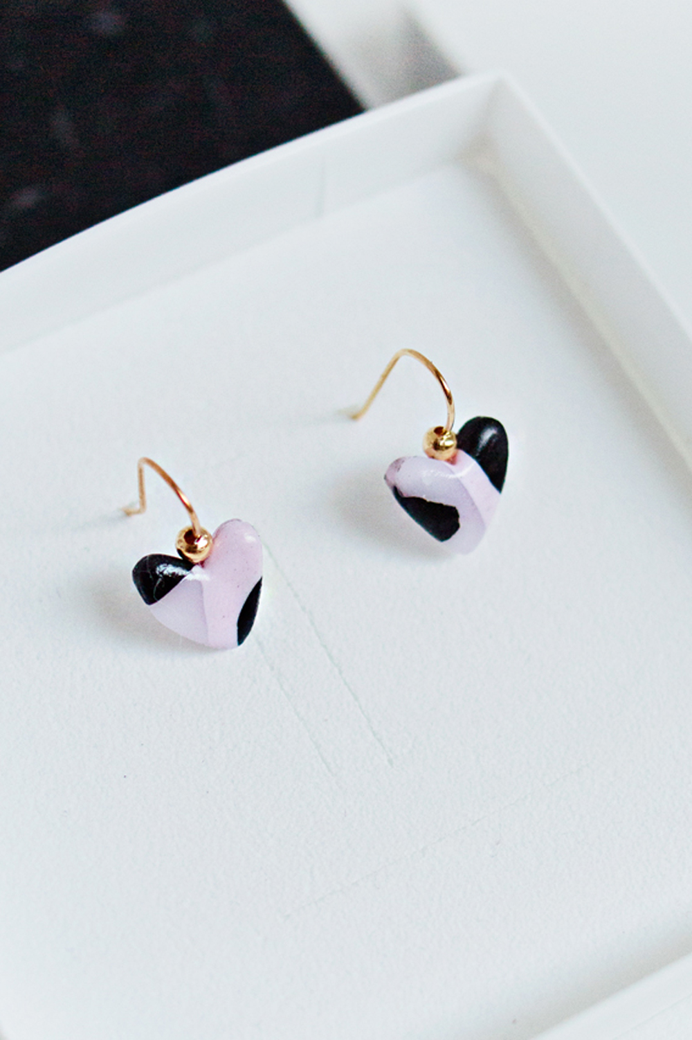 Stud Earring White Polymer Clay Earrings Floral Earrings Orange Gold